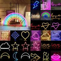 Nachtlicht USB Akku Neon Licht Schild Innen Schlafzimmer Wand Dekor LED