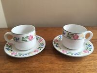 SET OF 2 Farberware Stoneware DORCHESTER 388 Flat Cups & Saucers