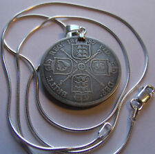 "UK rare 1887 Victorian Silver Florin Pendant & 22"" 925 ITALY Silver Snake Chain"