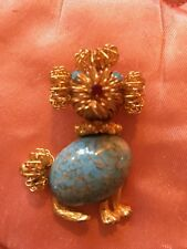 Antique Gold-tone Poodle Pin Brooch Turquoise Belly