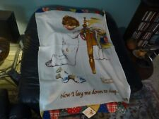 Norman Rockwell Lay Me Down To Sleep Boys Town Fleece Blanket W/ Tags Cute !