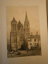 Grande Gravure animée  19° Normandie Eglise de Saint Pierre sur Dives Calvados