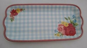 NEW Pioneer Woman Sweet Rose Plaid Floral Ceramic Serving Tray 14.1 in x 6.7 in
