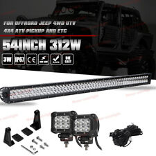 "54"" LED Light Bar Flood Spot 312W Driving+2x 4"" Fog Pods Lamp Offroad Chevy GMC"