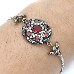 Deco 2.80ct Ruby,Garnet & Diamond Cut Sapphire 14K Yellow Gold 925 Bolo Bracelet