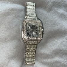 Mens Iced Out Watch Lab Diamonds Silver Trapstar Hiphop R&B Bling Rap Shine New!