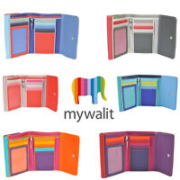 Mywalit Double Flap Leather Purse 5 Card Wallet With Pen In Various Colours 250