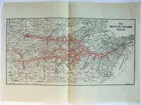 Baltimore and Ohio Railroad - Original 1923 Map. B&O Vintage