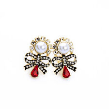 Tie Black Red Pearl Vintage J6 Rings` Ears Clips Clips Golden Bow