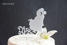 Tortendekoration für Hochzeit,Brautpaar Mr&Mrs,silber Brautkleid,cake topper