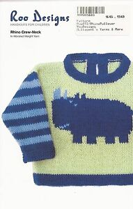 Roo Designs Rhino Crew-Neck Sweater KNITTING PATTERN In Worsted Yarn for 6mo-4yr