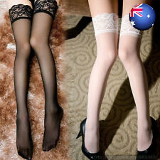 Women Sexy Lingerie Sheer Thigh High Stockings With Lace Detail Stay Hold-up