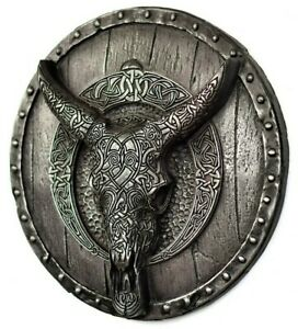 Longhorn Carved Skull on the Viking Shield Wall Mount Iron Rustic Decor