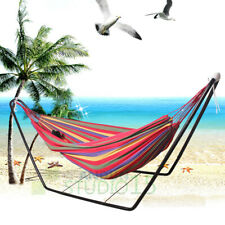 Swinging Double Hammock w/ Steel Frame Stand Combo Camping Outdoor Cotton Fabric
