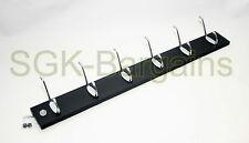 Stylish 6 Hooks Coat Hat Clothes Robe Holder Rack Hook Wall Hanger Door BLACK