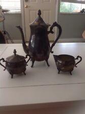 Leonard Silverplate Vintage 3 Piece Set Coffee/Tea Pot Creamer Sugar Bowl Ornate