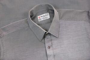Turnbull & Asser Twill Cotton Long Sleeve Classic Fit Dress Shirt Gray Size 17