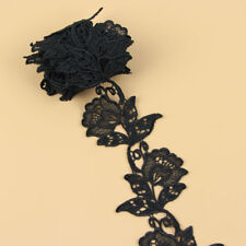 2 Yards 3.5'' Black Rose Flower Venise Lace Trim Applique Sewing Craft DIY Decor