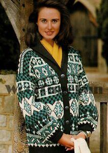 Knitting Pattern To Make Ladies Fair Isle Design Cardigan.  DK Yarn.
