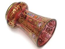 SOCKELBECHER BECHER ° Rotes Glas handbemalt floral Goldrand Bodenkugel verziert