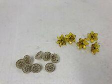 New listing Vintage Yellow Glass Rosette Set drapery hardware lot curtain tieback medallion