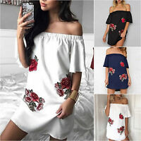 Women's Off Shoulder Floral Printed Short Mini Tunic Dress Casual Party Summer
