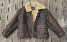 Ralph Lauren Polo Sport RL Shearling Leather Bomber Aviator Jacket Coat L RRL