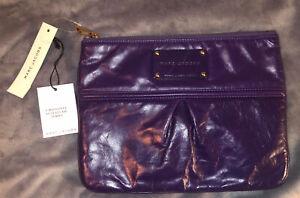 Marc Jacobs Dark Purple Leather Clutch, MSRP $298 Authentic Dust Bag Zipper riri