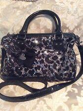 Betsey Johnson Sequined Leopard Crossbody Satchel  Purse Bag, Black/ Grey