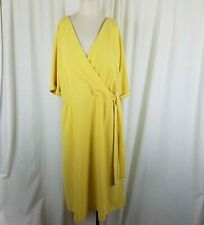 Ann Taylor Factory Wrap Side Tie Yellow Chiffon Midi Dress Womens L NWT $110