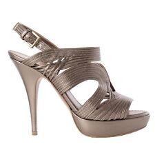 41017 auth ALAIA metallic light bronze leather Platform Sandals Shoes 39