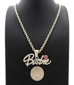"Women's Hip Hop Iced Barbie Pendant & 4mm 18"" Link Choker Chain Bling Necklace"