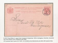 8) Curacao Stationery postcard 1890 (G#7) to Colombia transito Barranquilla