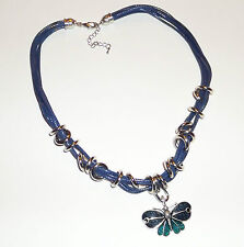 "18"" 20"" BLUE GREEN ENAMEL BUTTERFLY MULTICORD CORD PENDANT NECKLACE"