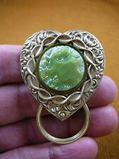 (E-414) Lime Green Czech Eyeglass heart BRASS pin pendant ID badge holder
