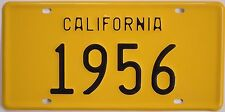 1956 California Style Novelty License Plate Yellow and Black