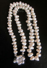"""White freshwater PEARL  necklace 1 string 16"""", flower shaped clasp, new"""