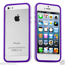 Apple iPhone 5 TPU HYBRID BUMPER w/ METAL BUTTONS ACCESSORY PURPLE/WHITE