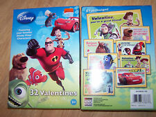 Box of 32 Disney Valentines Day Cards The Incredibles Nemo Cars Up Monsters Inc