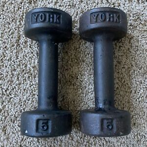York 5lb Cast Iron Vintage Roundhead Weights Dumbbell Set  (10lbs total)