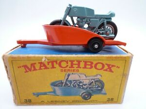 MATCHBOX LESNEY No.38c HONDA MOTORCYCLE & TRAILER IN ORIGINAL BOX 1968