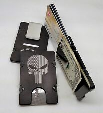 Punisher Skull Flag, Aluminum Wallet/Credit Card Holder, RFID Protection, Black