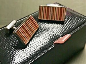 Thomas Pink, Steel & Enamel Pink Stripes Long Cufflinks (With original Box)