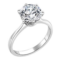 .925 Sterling Silver Engagement Ring - 2 Carat Cubic Zirconia CZ Ring