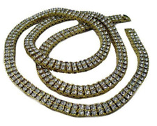 Gold Plated 2 Row of Rocks Faux Diamond Hiphop Bling Pharaoh Chain