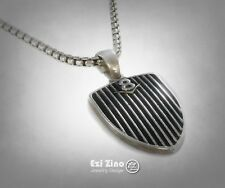 V8 Engine Sports Car Solid Sterling Silver 925 Handmade Pendant by Ezi Zino