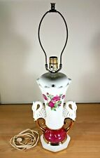 Vintage Floral Swan Hand Painted Ceramic Table Lamp Mid Century WORKS Ornate