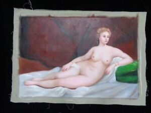 Very Large Old Original Oil Hand Painting On Canvas Beautiful Nude Woman