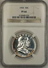 1955 Franklin Silver Half Dollar 50c Proof Coin NGC PF-66 Lightly Toned GEM