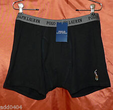 POLO RALPH LAUREN mens jersey boxers black w/ signature polo player size S NWT